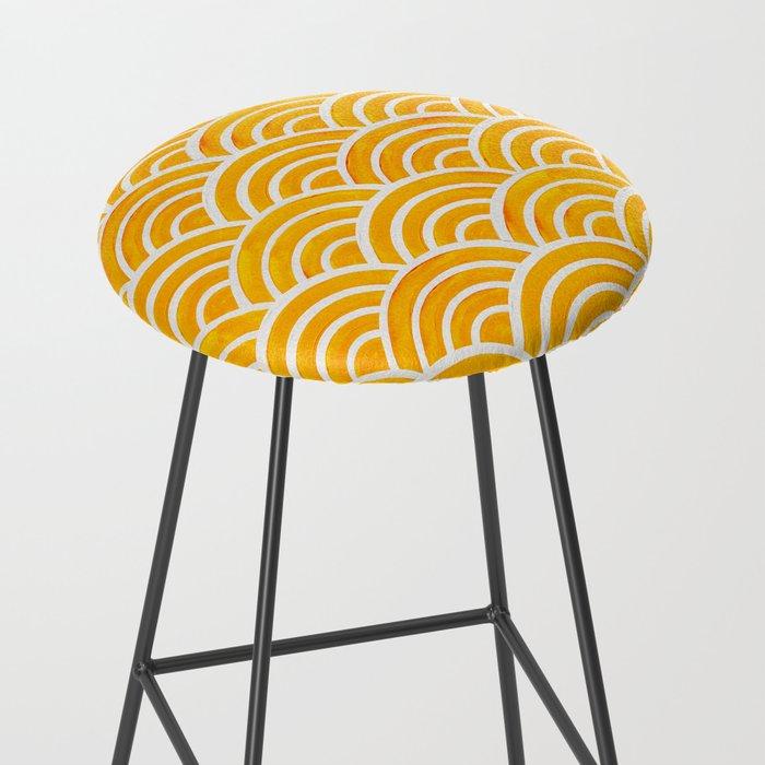 Japanese Seigaiha Wave – Marigold Palette Bar Stool