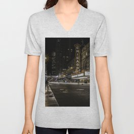 The Iconic Chicago theatre sign at night Unisex V-Neck