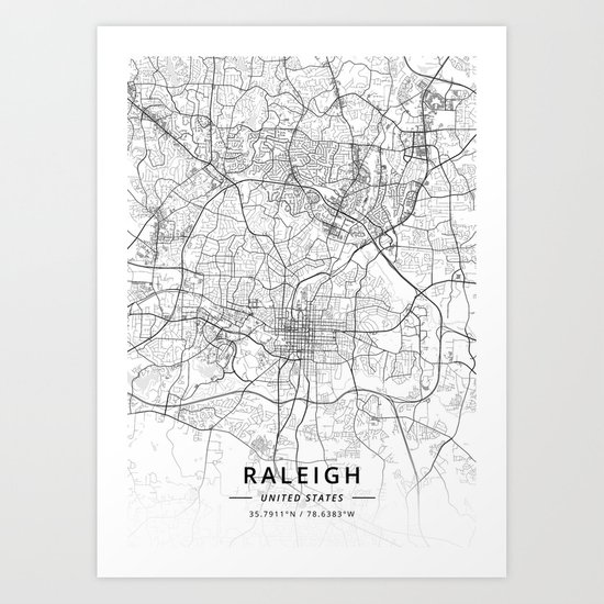 Raleigh, United States - Light Map by designermapart