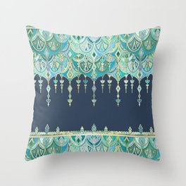Art Deco Double Drop in Blues and Greens Throw Pillow