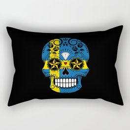 Sugar Skull with Roses and Flag of Sweden Rectangular Pillow