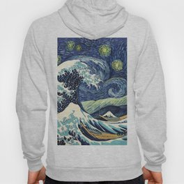 The Great Wave of Pug Starry Night Hoody