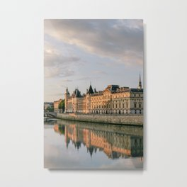 Seine River in Paris at Sunrise Metal Print