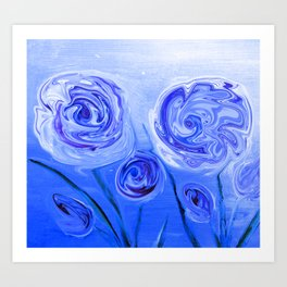 Puddle of Roses Blue White Abstract Art Print