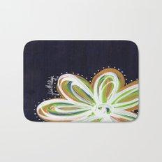 Navy and Gold Flower Bath Mat