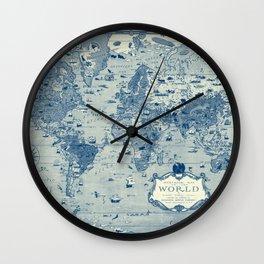 Blue Mercator Map Wall Clock