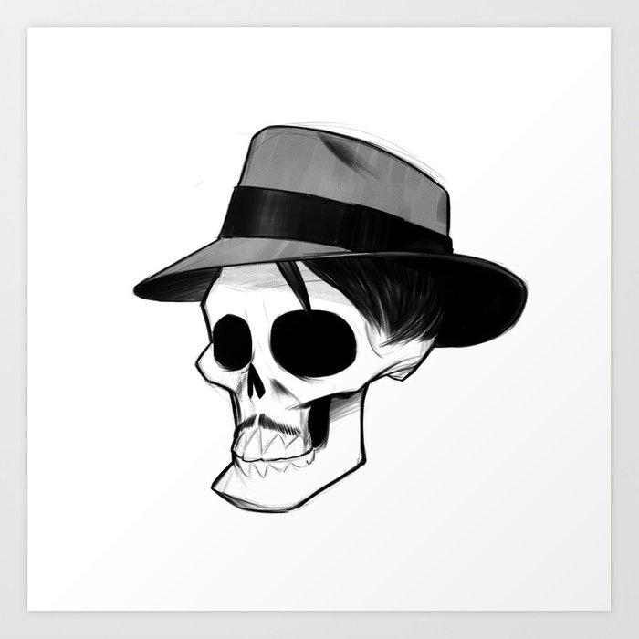 54a617d62 Ricky Fedora Skull Art Print by randybishop
