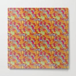 Retro Hippie Psychedelic Flower Power Pattern Metal Print