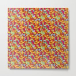 Retro Hippie Psychedelic Flower Power Pattern Metal Print