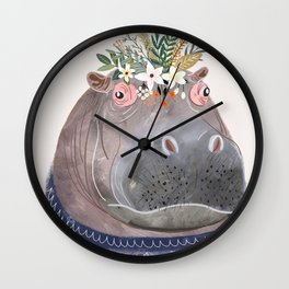 Hippo with flowers on head Wall Clock