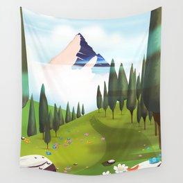 Cartoon Mountain landscape. Wall Tapestry