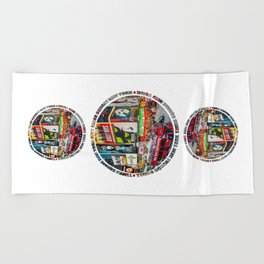Times Square New York City Badge Beach Towel