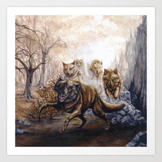 Pack of Wolves Art Print