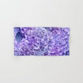 Painterly purple blue hydrangea flowers Hand & Bath Towel