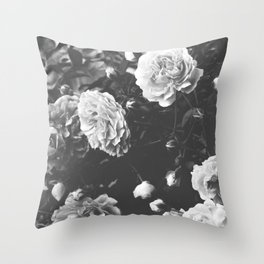 Spring Morning Roses in Bloom Black and White Photography Throw Pillow
