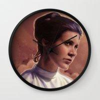 leia Wall Clocks featuring Leia by Jackie Sullivan