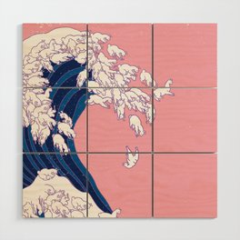 Llama Waves in Pink Wood Wall Art