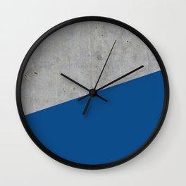 Concrete and Lapis Blue Color Wall Clock