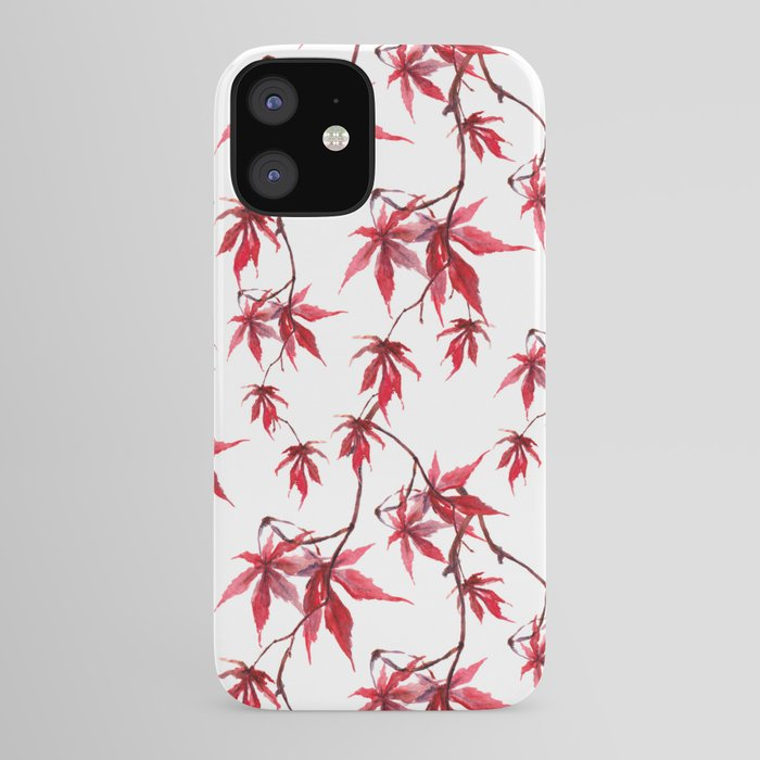 Watercolor Botanical Red Japanese Maple Leaves on Solid White Background iPhone Case