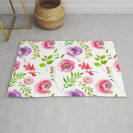 Pink magenta lilac green watercolor floral leaves Rug