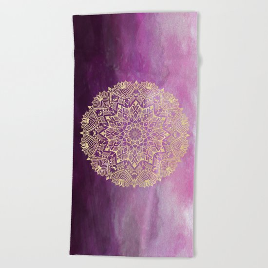Gold mandala on maroon ink Beach Towel
