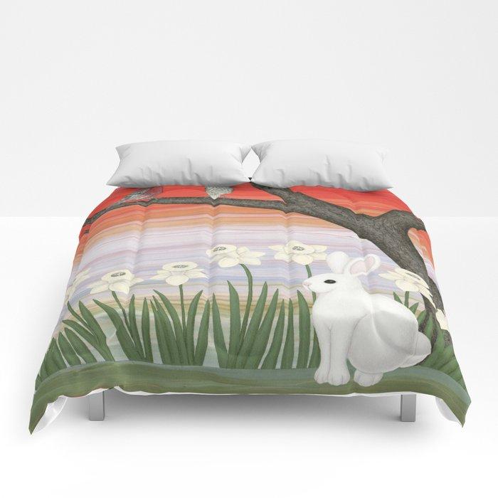 psychedelic spring scene Comforters