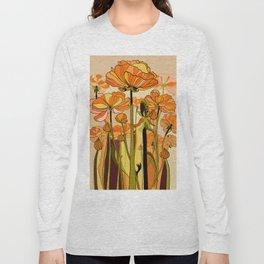 70s, Orange California poppies, mid century, 70s retro, flowers Long Sleeve T-shirt
