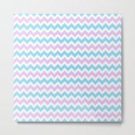 Light Blue, Lilac & White Chevron Pattern Metal Print