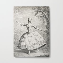 The Dancers, 18th century French ballet woman, black white drawing Metal Print