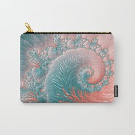 Abstract Coral Reef Living Coral Pastel Teal Blue Texture Spiral Swirl Pattern Fractal Fine Art Carry-All Pouch