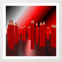 many red pencils Art Print