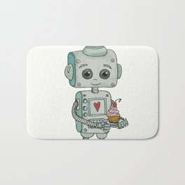 The feeling when your cute little robot brings you a cupcake in the morning :) Bath Mat