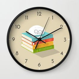 The Cat Loves Books Wall Clock