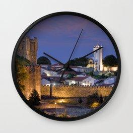 Braganca castle at dusk, Portugal Wall Clock