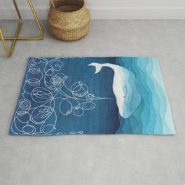 Happy whale, animals sea creature, teal blue watercolor Rug