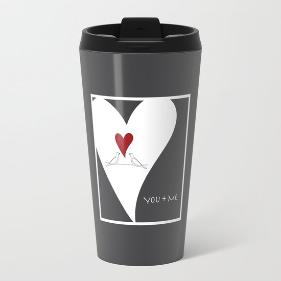 You + Me - Red Heart Birds In Love Travel Mug