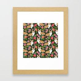 Welsh Corgi hawaiian print pattern florals tropical summer dog breed pet portrait Framed Art Print