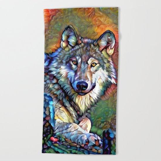 Aura of the Wolf Beach Towel