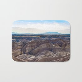 Looking across the Borrego Badlands Canyons towards the Hazy Mountainsin the Anza Borrego Desert Bath Mat