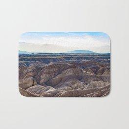 Looking across the Borrego Badlands Canyons towards the Hazy Mountainsin the Anza Borrego Desert Bath Mat