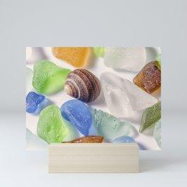 Tiny sea shell and Beach Glass Mini Art Print