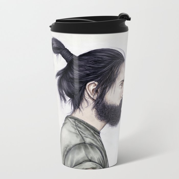 Beard & Top Knot Metal Travel Mug
