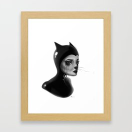 Crying Cat Woman Framed Art Print