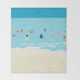 Stoked - memphis throwback retro neon pop art illustration socal cali beach surfing swimming sea Throw Blanket