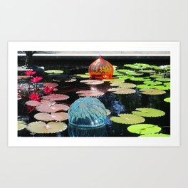 Lily Pond and Glass Floaters Art Print