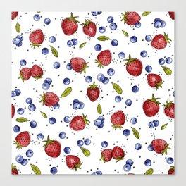 Strawberry, Blueberry, Mint Canvas Print