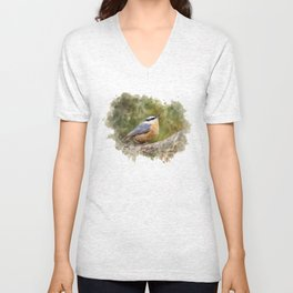 Nuthatch Watercolor Art Unisex V-Neck