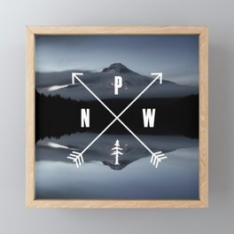PNW Pacific Northwest Compass - Mt Hood Adventure Framed Mini Art Print