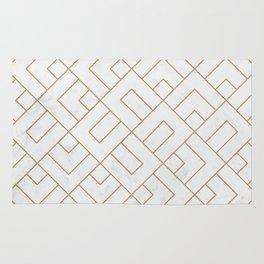 Golden Marble Square Floor Pattern Rug