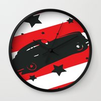 ford Wall Clocks featuring Hot Ford by Artist Milicent Fambrough